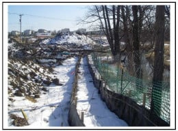 Silt Fencing helps protect an adjacent creek and low-lying area from any soil contamination or runoff from the construction site.
