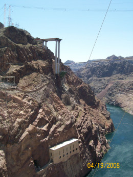 The construction of the Hoover Dam Bypass in 2008