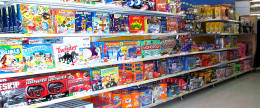 Store shelves lined with traditional games