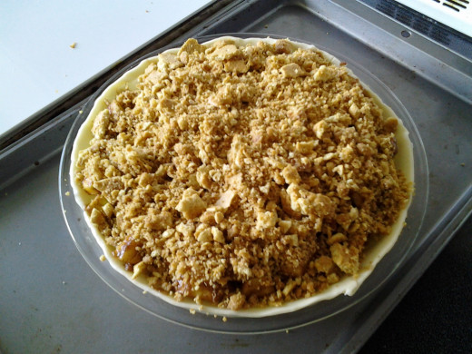 Crumb topping before baking