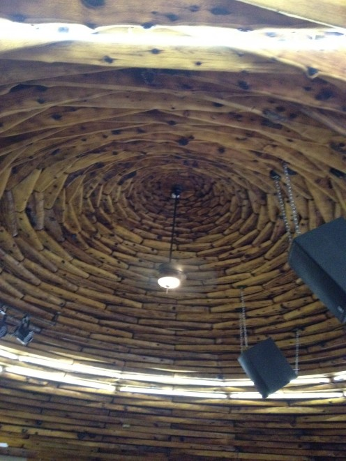 The domed ceilings of the 'back' hogan.  You can see the speaker for music.