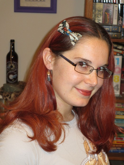 Comic book bow on a hair clip.