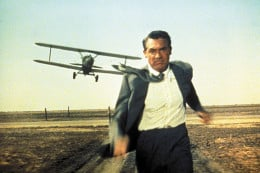 Cary Grant iconically getting crop dusted.