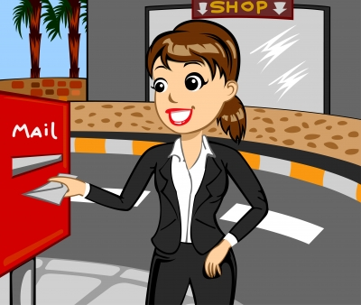 Business Woman Sending Mail