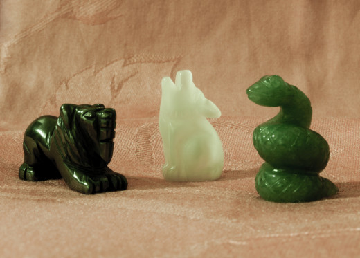 Lion, Wolf and Snake jade statuettes