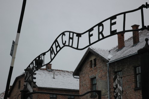 Entrance of Auschwitz. Arbeit Macht Frei: Work Will Set You Free.