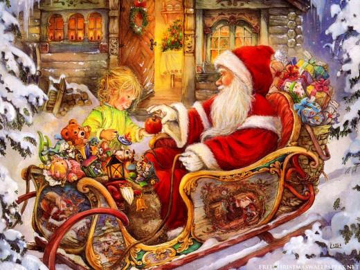 Santa Getting Gift