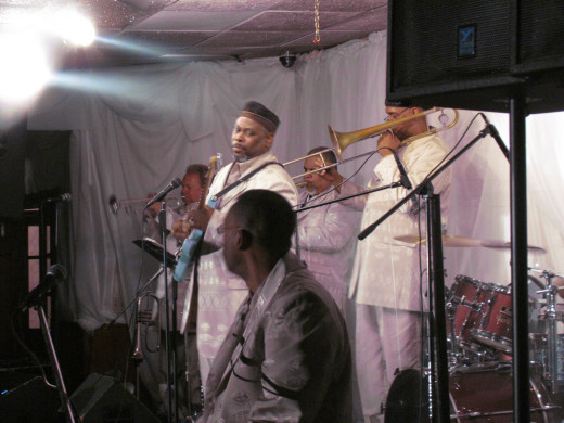 Band members of The New Stylistics are Mark Tillman, drummer, Tim Williams is on the trombone, Kenny Thompson, musical director, Ray is on guitar.