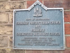 Historical plaque, Erindale Presbyterian Church, formerly Springfield Methodist Church, Mississauga