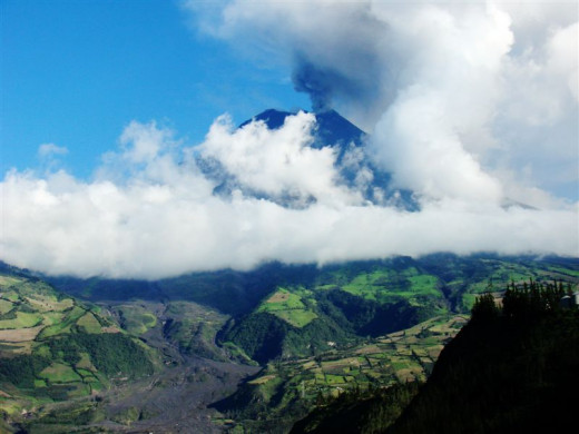 Tungurahua volcano near Banos