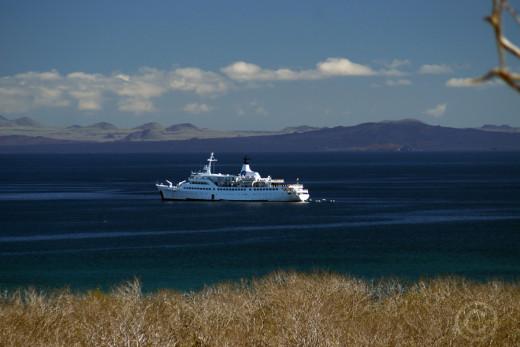 The Galapagos Legend at anchor off Santa Cruz Island, Galapagos
