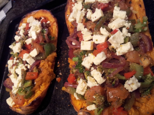 Delicious, healthy, cheap and filling! And the butternut can be stuffed with whatever you have in your kitchen.