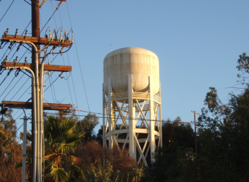 This water tower, located next to PWP's facility in the first photo, supplies water by gravity feed to neighboring South Pasadena.