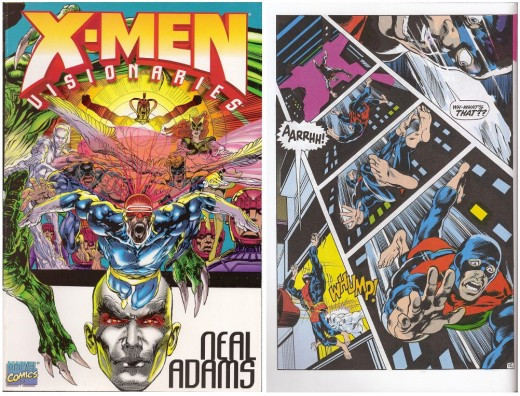 Cover to X-Men Visionaries - Neal Adams, and an interior page illustrating Adams' innovative style.