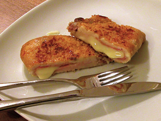 Chicken Cordon Bleu - an alternative method that is a sliced breast rather than rolled breast.