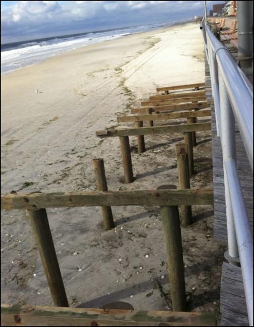 Destroyed boardwalk ramps