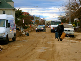 No, this isn't a dirt road but it's paved... it's just that now it's covered in sand (South Brooklyn)