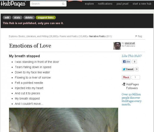 Emotions of Love (2 of 5 unpublished hubs) was first published at HubPages on July 16, 2012 but I decided to unpublished them