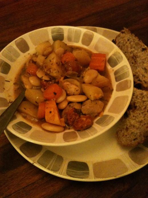 Serve in bowls with generous 'doorstops' of fresh bread.