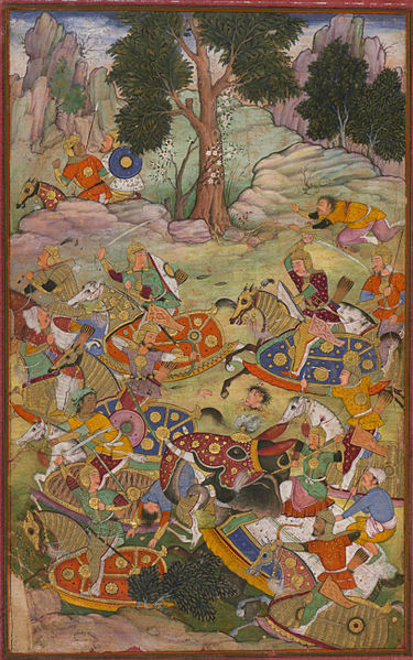 A depiction of the Battle of Panipat which shows the death of Sultan Ibrahim, the last Lodi Sultan of Delhi.