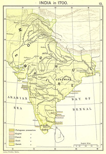 The Mughal Empire at its greatest extent at the beginning of the 18th century.