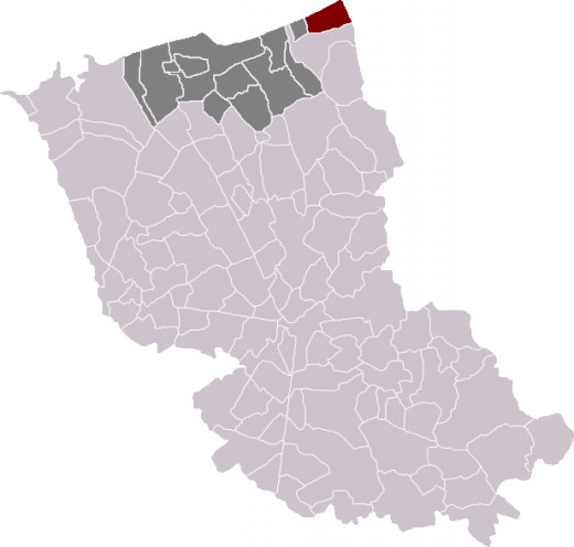 Map location of Bray-Dunes in Dunkirk 'arrondissement'