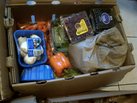 A closer view of our groceries in the box before we put them away