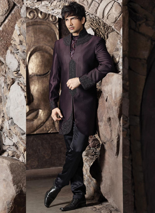 Indo Western Jacquard Sherwani. Photo courtesy of Cbazaar.com.