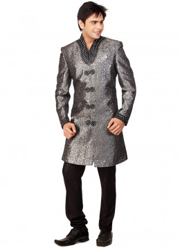 Self Woven Grey And Black Sherwani. Photo courtesy of Cbazaar.com.