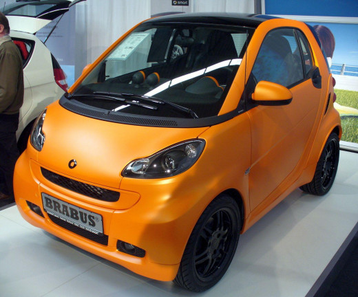 The Smart Fortwo Brabus, special edition in orange.