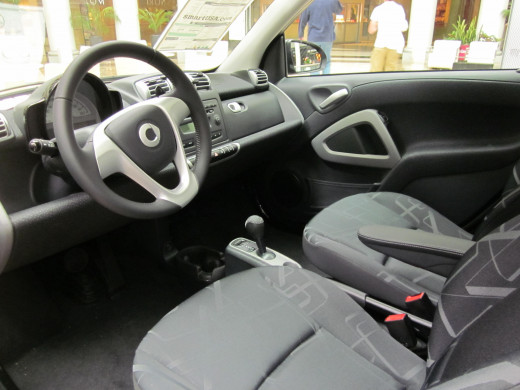 Interior view of a Smart Fortwo