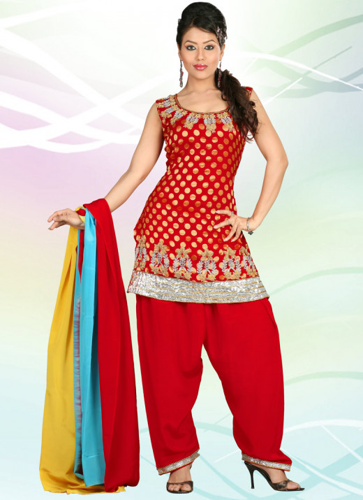 Vibrant red georgette salwar suit. Photo courtesy of Cbazaar.com.