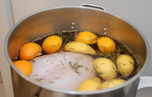 Soak the turkey in brine for up to 24 hours.