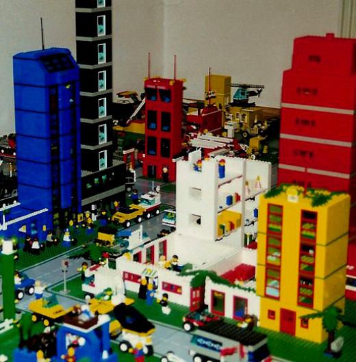 A city made out of LEGO bricks.