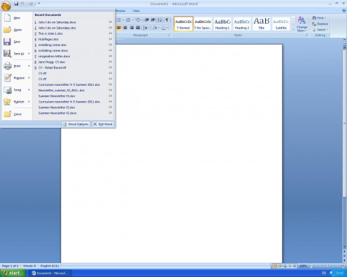 Figure 1 - Office button drop down menu, select Word Options