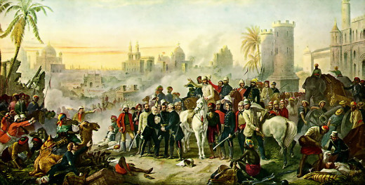 A depiction of the British relieving the residency within the city of Lucknow which had been besieged by Indian rebels during the Mutiny of 1857.