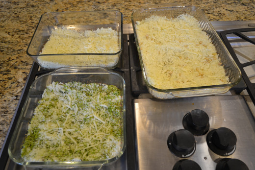 Oven roasted chopped cauliflower (lower left with asparagus, upper right with pine nuts)