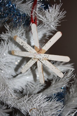 A popcicle stick snow flake.