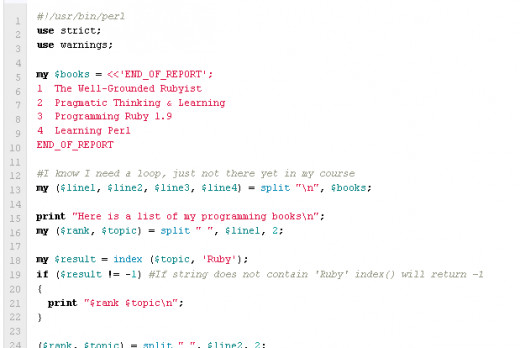 A small piece of Perl code I wrote while taking the course.