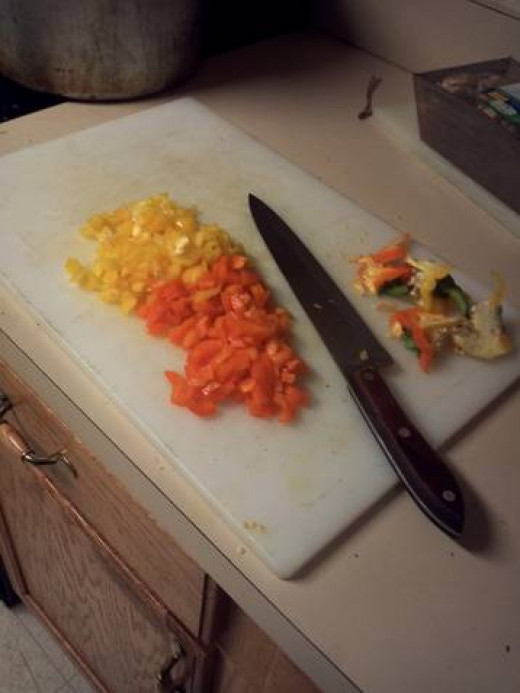 Chop two bell peppers