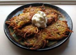 Garden zucchini potato pancakes. Crucnchy rosti style zucchini pancake recipe.