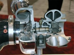 A large turbocharger, like this one from Garrett, can forcefeed the WRX more air.