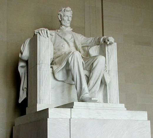 This statue of Abraham Lincoln (1920) by Daniel Chester French in the Lincoln Memorial was photographed by Raul654 on August 12, 2002.
