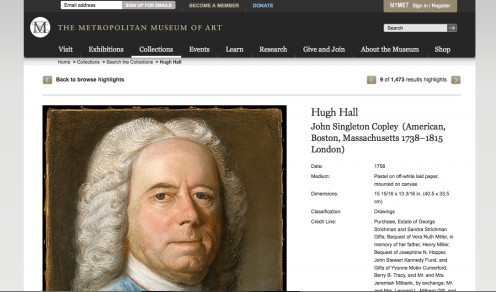 "Screenshot of the Metropolitan Museum of Art website, showing ""Hugh Hall"" by John Singleton Copley"