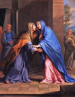 The Visitation (Elizabeth (left) visited by Mary) by artist Philippe de Champaigne