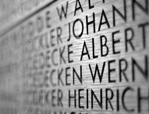Name upon name upon name; Langemark German Military Cemetery, Langemark (Belgium)