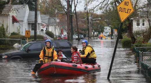 Flooded Streets From Hurricane Sandy, Nov. 2011, in New Jersey, USA.