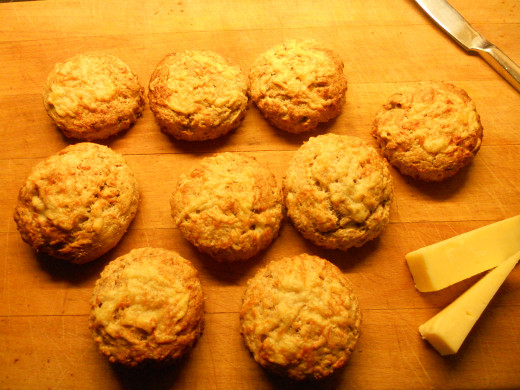 Freshly baked batch of cheese Scones