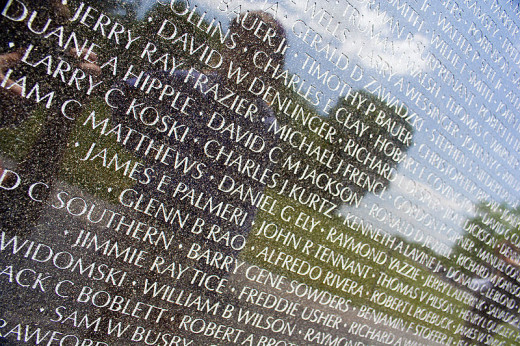 Some of the names on the Vietnam Veterans Memorial wall were photographed by David Bjorgen on October 24, 2005.