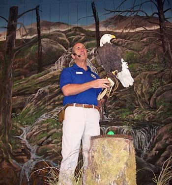 Mike & Osceola at a Wings of America Birds of Prey show at Dollywood